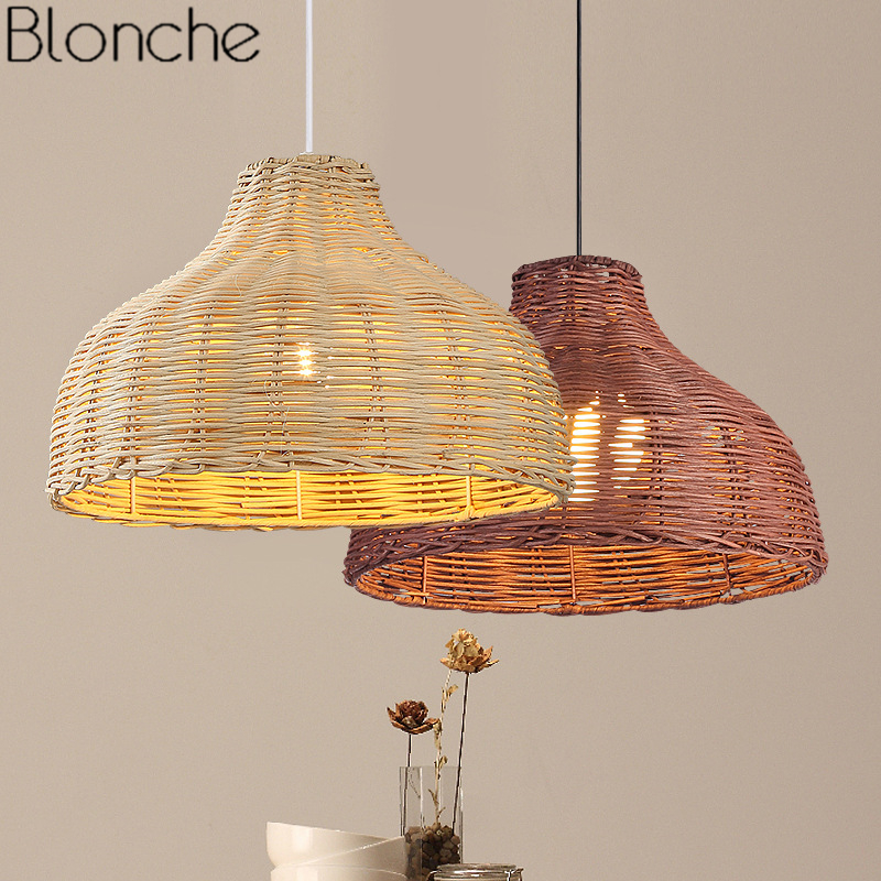 Southeast Asia Bamboo Rattan Pendant Lights Country Hanging Lamp Wicker Light For Restaurant Kitchen Home Lighting Fixtures Deco