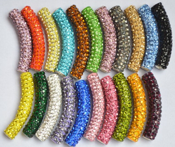Beads Hotsale Black Blue Discount Mixed Multi Color Micro Pave Long Bending Tube Crystal Gradual Crystal Beads Shamballa Numerous In Variety