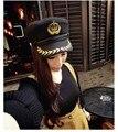 2015 de Invierno de Lana de La Vendimia Mujeres Del Estilo Marinero de la Marina Sombrero Militar Del Ejército Caps Gorra Plana 4 Colores