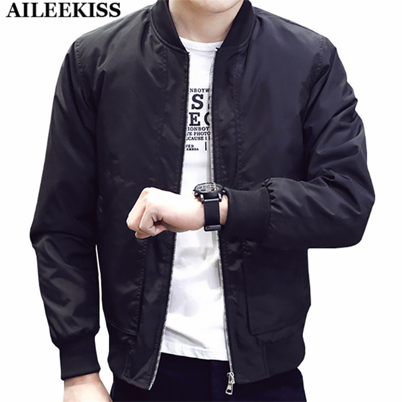 2017 Spring Autumn Casual Solid Fashion Slim Bomber Jacket Men Overcoat New Arrival Baseball Jackets Men