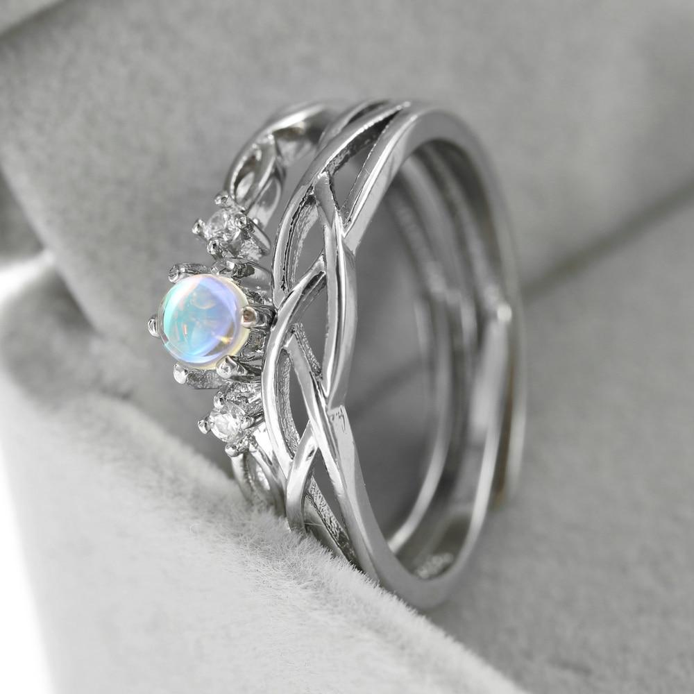 Открытые Кольца zhoyang для пар, Романтические кольца с лунный камень серебряного цвета, подарок на День святого Валентина для девушки, модные ...