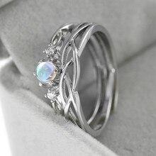 Zhouyang aberto anéis para amantes de casal romântico moonstone prata cor presente do dia dos namorados para namorada moda jóias kbr161