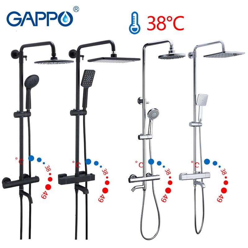 Gappo noir robinet ensemble de douche baignoire thermostatique froid eau chaude robinet température robinets système de douche cascade mélangeur douche