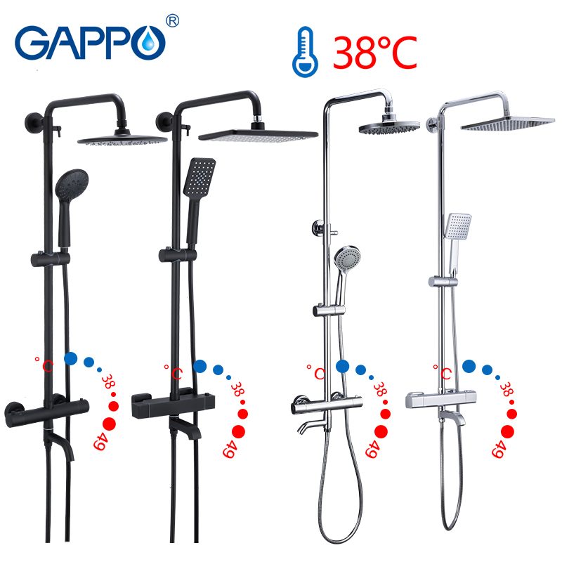 Gappo Black Faucet Shower Set Bathtub Thermostatic Cold Hot Water Tap Temperature Faucets Shower System Waterfall Mixer Shower