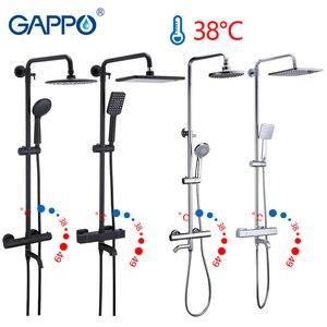 Image 1 - Gappo สีดำก๊อกน้ำชุดฝักบัวอ่างอาบน้ำเทอร์โมเย็นน้ำร้อนแตะอุณหภูมิก๊อกน้ำระบบน้ำตกฝักบัว