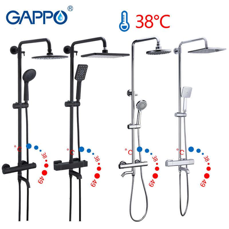 Gappo สีดำก๊อกน้ำชุดฝักบัวอ่างอาบน้ำเทอร์โมเย็นน้ำร้อนแตะอุณหภูมิก๊อกน้ำระบบน้ำตกฝักบัว