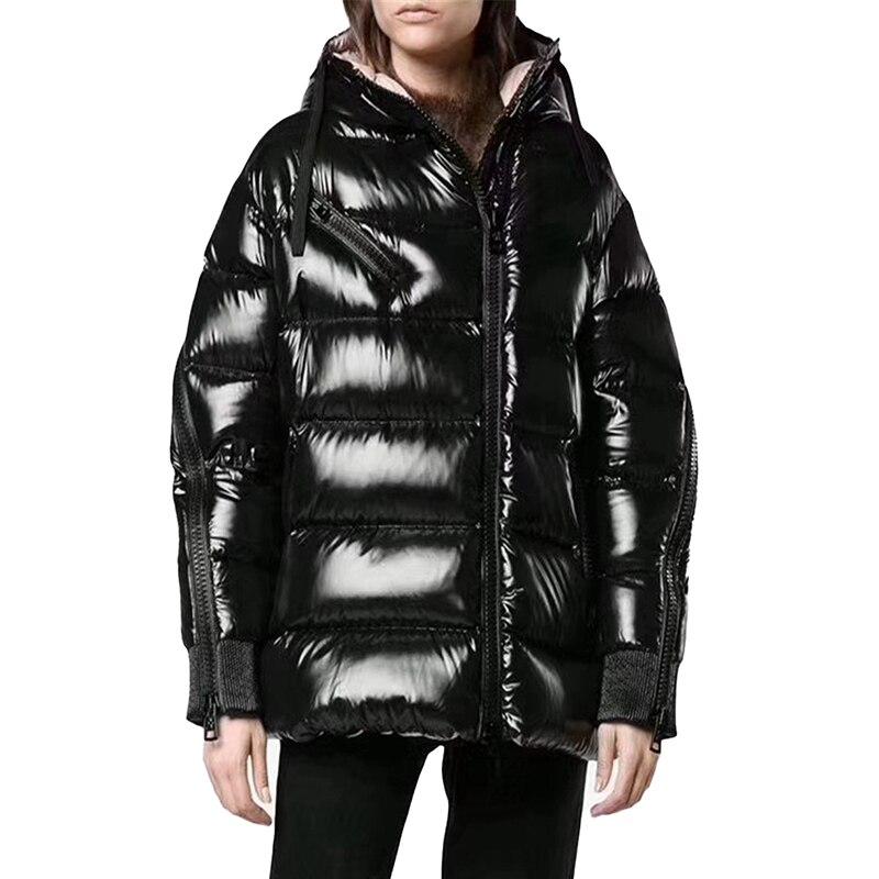 Haute qualité doudoune hiver femmes épaissir blanc canard duvet manteau brillant mémoire tissu à capuche lâche femme chaud vestes N250
