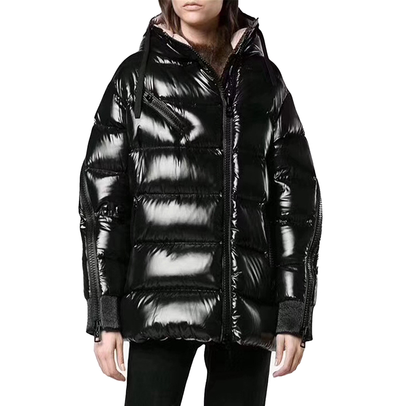 High quality   down   jacket winter women Thicken White duck   down     coat   Glossy Memory fabric Hooded Loose female Warm jackets N250