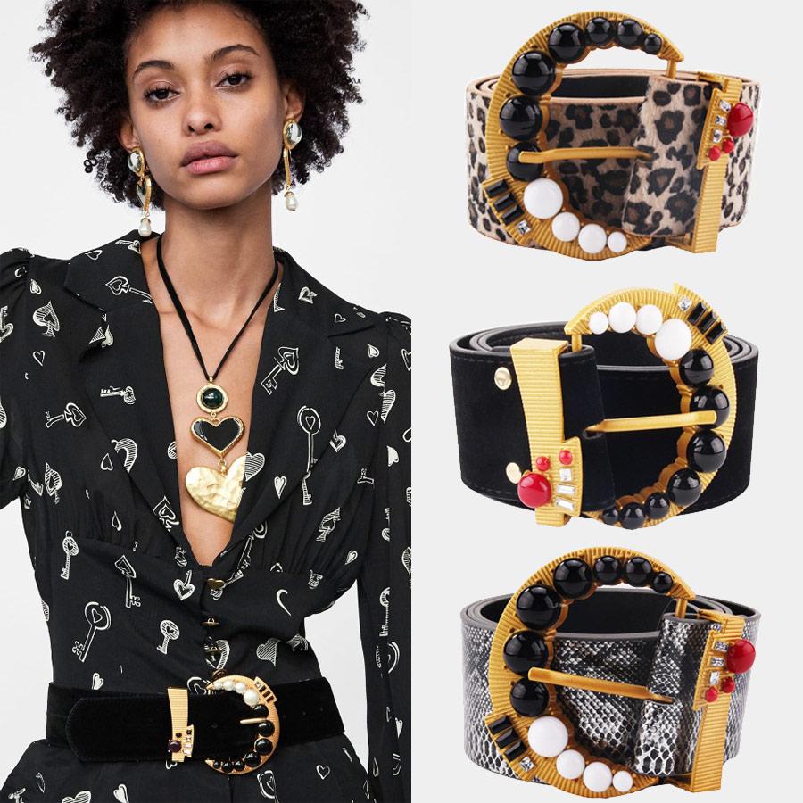 Miwens Snake Skin Leopard Print Metal Maxi   Belt   2019 Fashion Punk Big   Belt   Women Party Statement Wholesale Handmade Jewelry A215