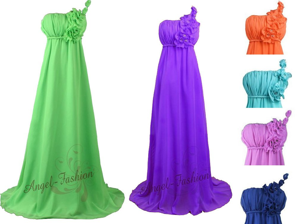 A line one shoulder bridesmaid dress blue green purple for Pink and orange wedding dresses
