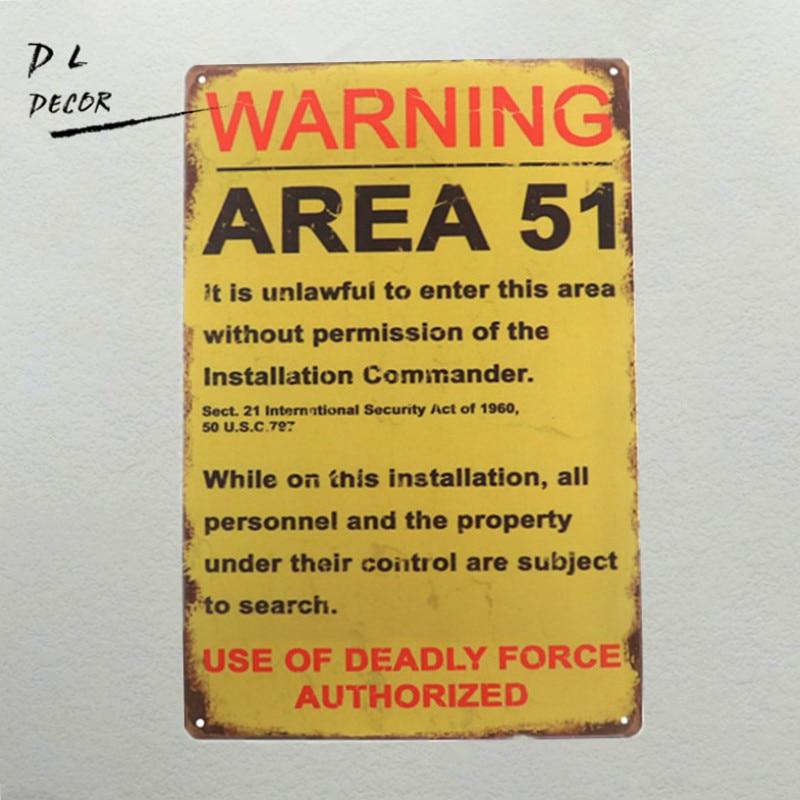 Dl Decoraciones Divertidas Señales De Advertencia Vintage área 51
