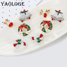 YAOLOGE Cute Enamel Decorative Earring Christmas Style Earrings Tree reindeer bells candy For Women Christmas party Jewelry Gift(China)
