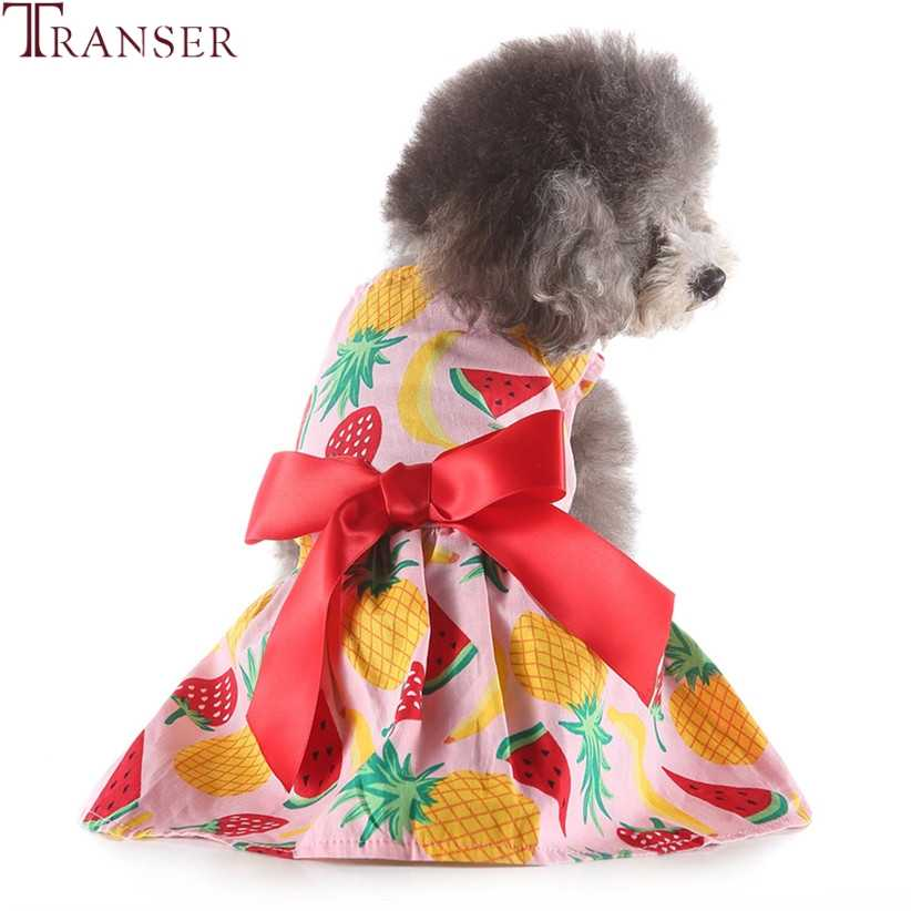 Весенне-летнее платье для собак с фруктовым принтом юбки для домашних животных красная лента бант Одежда для собак ананас с изображением клубники, банана с принтом костюм для домашних животных 90404