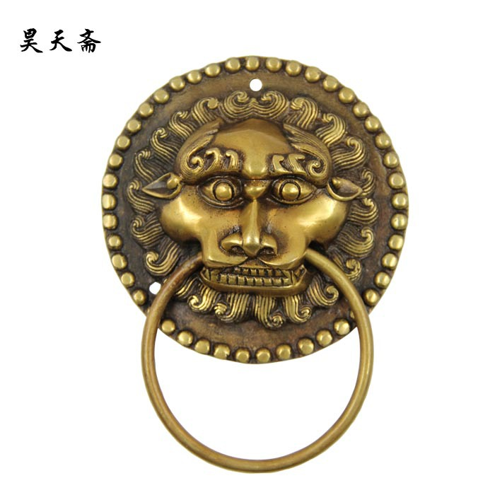 [Haotian vegetarian] new Chinese ancient bronze door knocker door handle copper beast handle HTA-1114 [haotian vegetarian] chinese ancient knocker handle copper ring copper beast lion head door handle king