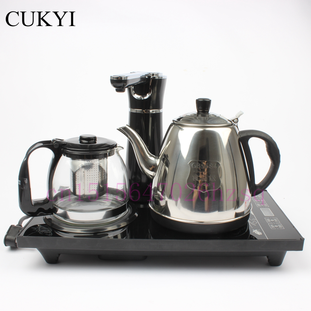 CUKYI Electric Kettles household tea pot set 1.0L capacity stainless steel safety auto-off function, black cukyi seven ring household electric taolu shaped anti electromagnetic ultra thin desktop light waves