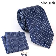 Tailor Smith 100% Pure Silk Formal Navy Necktie Hanky Cufflink Gift Set Fashion Formal Business Wedding Suit Mens Tie Neckwear