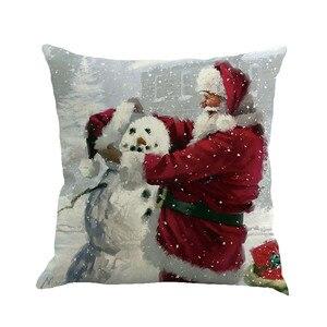 Image 5 - Noël père noël impression teinture taie doreiller multicolore style européen et américain housse de coussin canapé lit décor à la maison