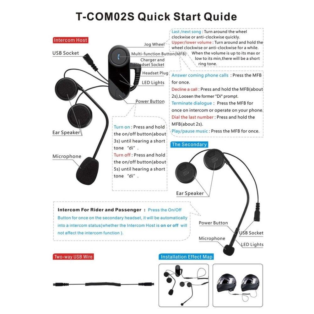Nouveau T-COM02S Bluetooth Casque Interphone Stéréo Casque Étanche BT Sans Fil Interphone Casques de Moto Main Libre Casque