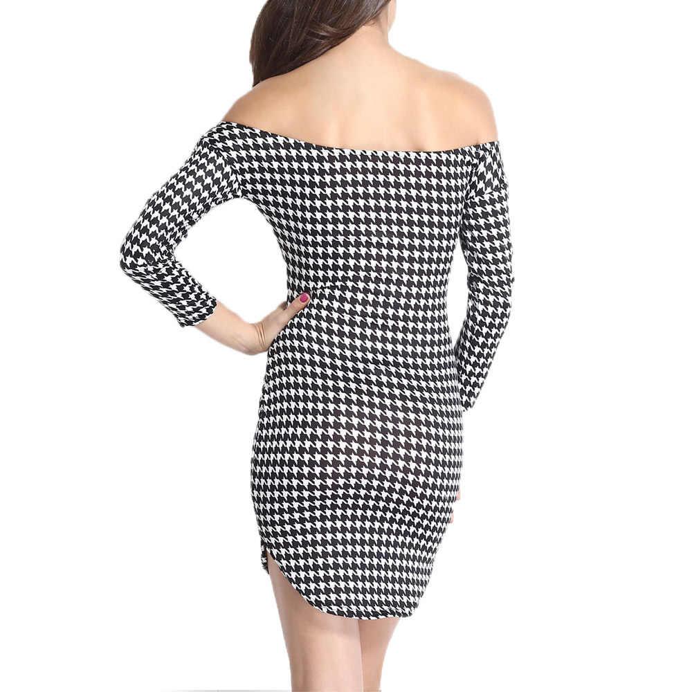 Сексуальное женское мини-платье с принтом «гусиные лапки», с открытыми плечами, с рукавом три четверти, с боковыми разрезами, Клубное облегающее платье черного цвета