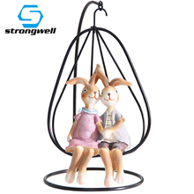Strongwell 2/PC Cartoon Rabbit Resin Crafts Doll Ornament Decoration Accessories Figurine Home Room Decor Birthday Gift Kids Toy