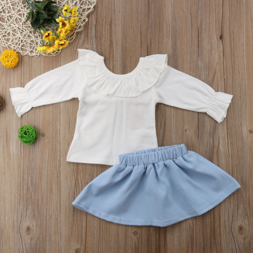 Newborn Toddle Baby Girls Large Bowknot Back Tops Princesss Outfits Clothes Ruffle Collar Long Sleeve Shirt Skirts 2PCS 6M-3T