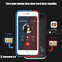 Dual Sim Card Adapter Bluetooth Case for iPhone 6 PLUS 7 PLUS 8 PLUS 6S PLUS Slim Dual Standby Adapter Active Sim Card Holder