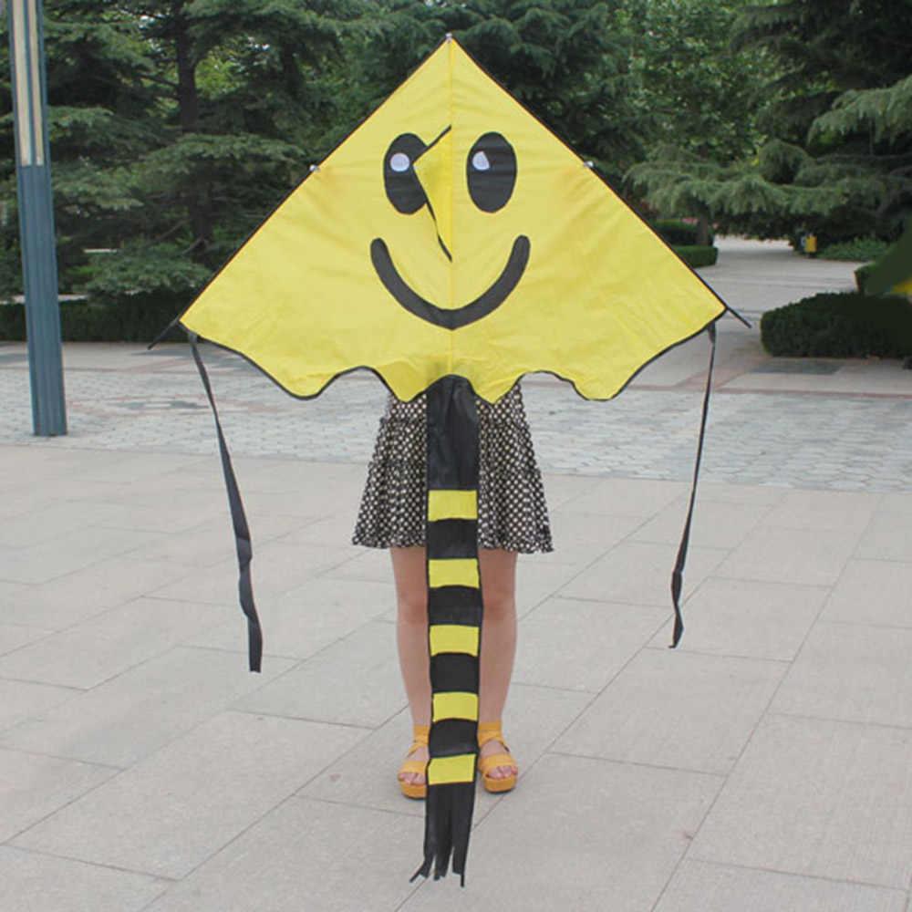 60*80 см улыбающееся лицо воздушный змей для детей с ручкой линии спорта на открытом воздухе смайлик анимация Летающий Flying
