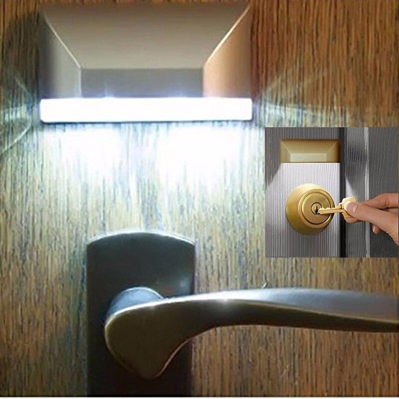 POTENCE Door Keyhole IR Motion Sensor 3D Lamp Intelligent Auto PIR Door Lock Night Light Detector 4 LED Smart Lights Lamparas