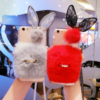 For iphone 6 6s 7 8 plus X Luxury Cute Diamond lace eye finger ring buckle Rabbit fur soft phone case cover Lanyard