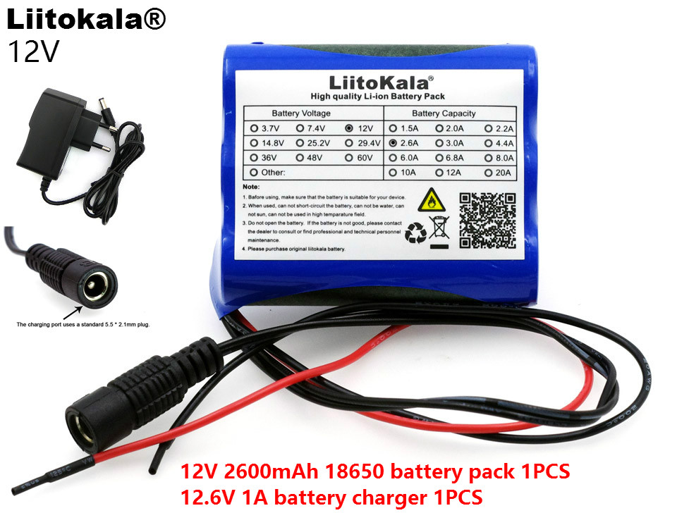 Liitokala 12 V 2600 mAh 12.6 V 1A Lithium battery charger