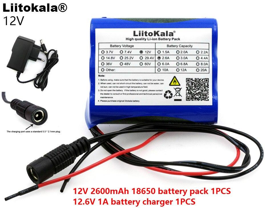Liitokala New 12 V 2600 mAh 18650 lithium-ion Battery pack Monitor CCTV Camera battery 12.6 V 1A Lithium battery charger