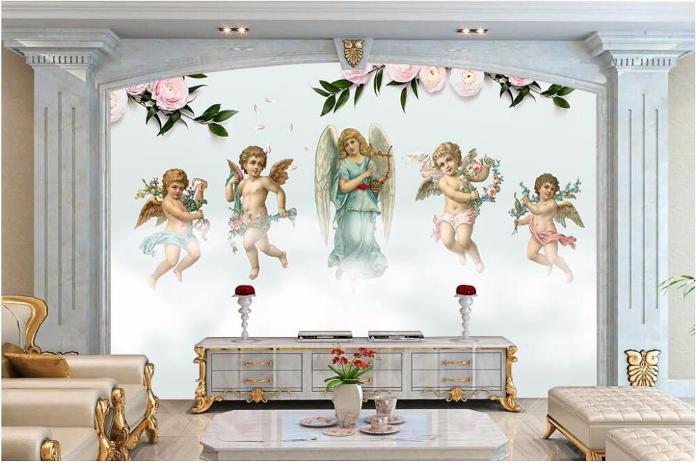 Custom mural 3d photo wallpaper European oil painting angel background wall 3d wall murals wallpaper for wall 3 d free shipping 3d stereo entrance hallway custom wallpaper vertical version european oil painting wallpaper mural