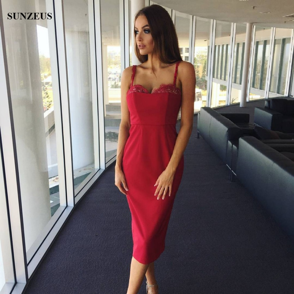 08f0be9be6 Fashion Red Bridesmaid Dress 2017 Spaghetti Straps Sweetheart Knee Length  Party Gowns With Lace Wedding Guest Dresses SAU930-in Bridesmaid Dresses  from ...