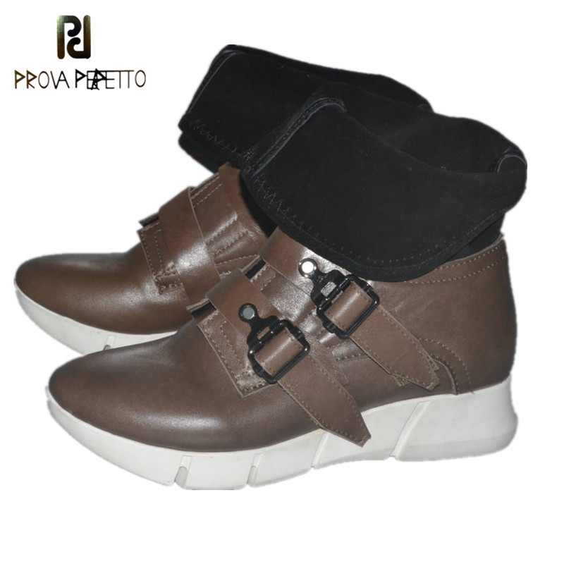 Prova Perfetto New Arrival Fashion Elegant Pointed Toe Wedge Shallow Boots Buckle Strap Thick Bottom Genuine Leather Shoes