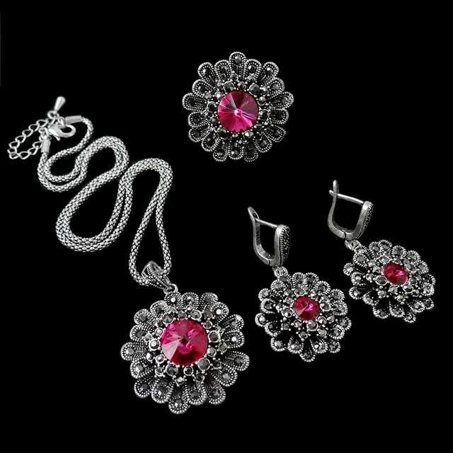 HENSEN Jewelry Antique Silver Plated Hot Pink Austrian Crystal Flower Shape Fashion Vintage Jewellery Sets For Women Gift