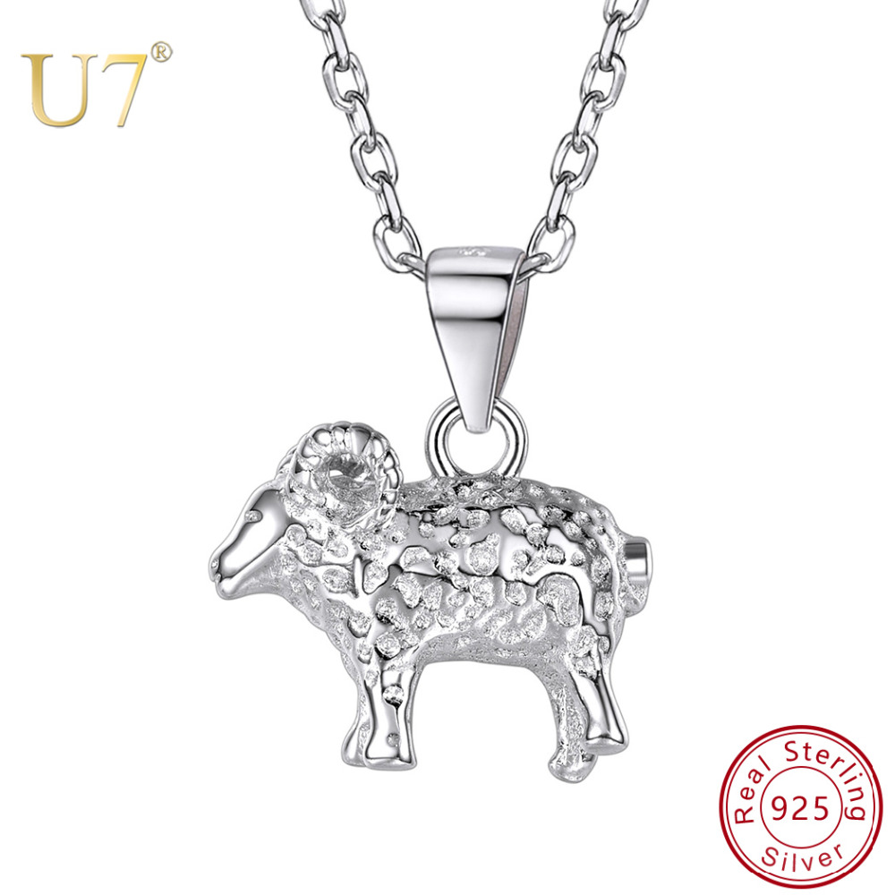 U7 925 Sterling Silver Cute Sheep Goat Animal Pendants Necklaces Fashion Chinese Zodiac Jewelry Making for Women Gifts New SC187 jewelry making