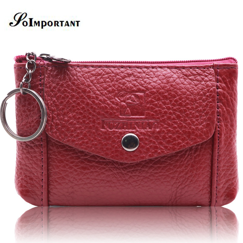 New Coin Purse High Quality Purses Genuine Leather Women Mini Wallets Leather Coin Purse Coin Credit Card Holder With Metal Ring