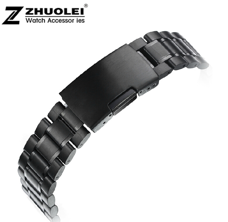 14mm 16mm 18mm 20mm 22mm 24mm NEW Smart Watch Stainess Steel Watchbands Black Steel Bracelet Men Steel Folding Clasp watchbands 18mm 20mm 22mm straps bracelet has special pattern stainless steel clasp deployment high quality for brand watch men