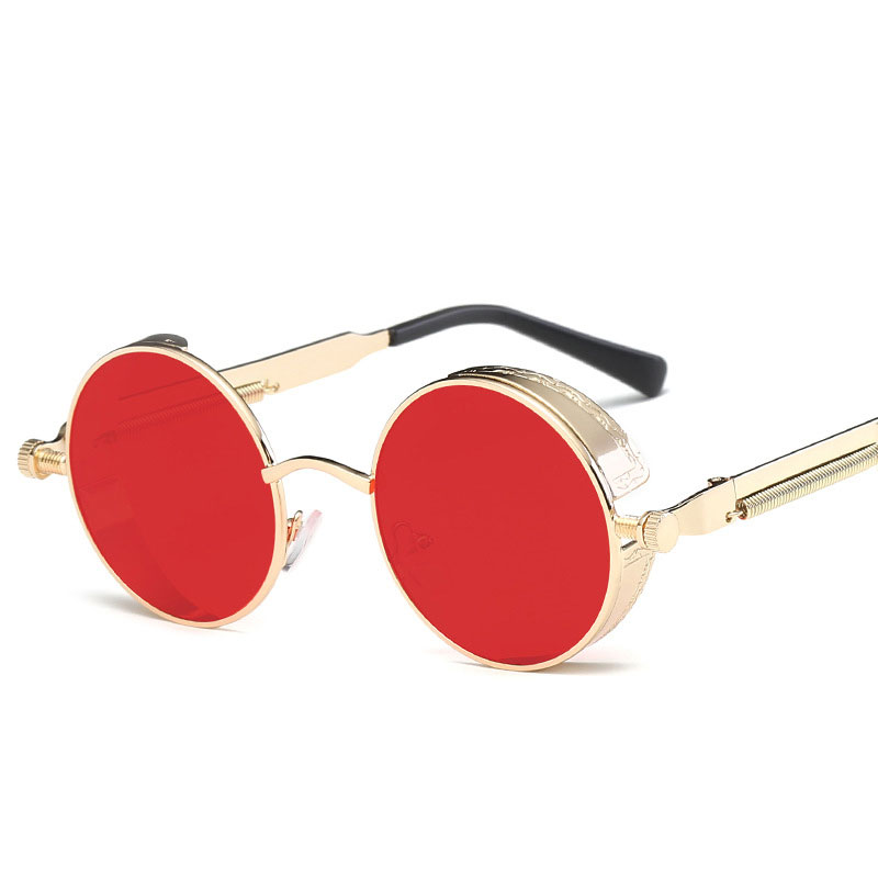 Round Glasses Steampunk Men Women Metal Sunglasses Brand Fashion ZOXPkiu