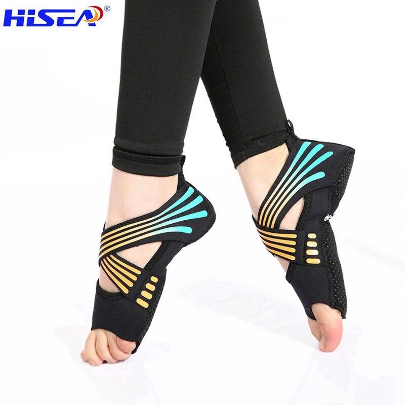 Hisea profession colour fitness Ladies Girls Women Antiskid Sport Pilates Yoga Non Slip Grip High elasticity softness Shoes Sock non slip toeless yoga socks with grip for women