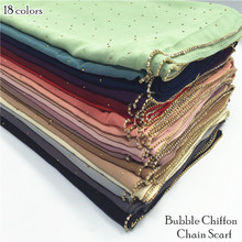 19 color women plain bubble chiffon chain scarf rhinestone scarves
