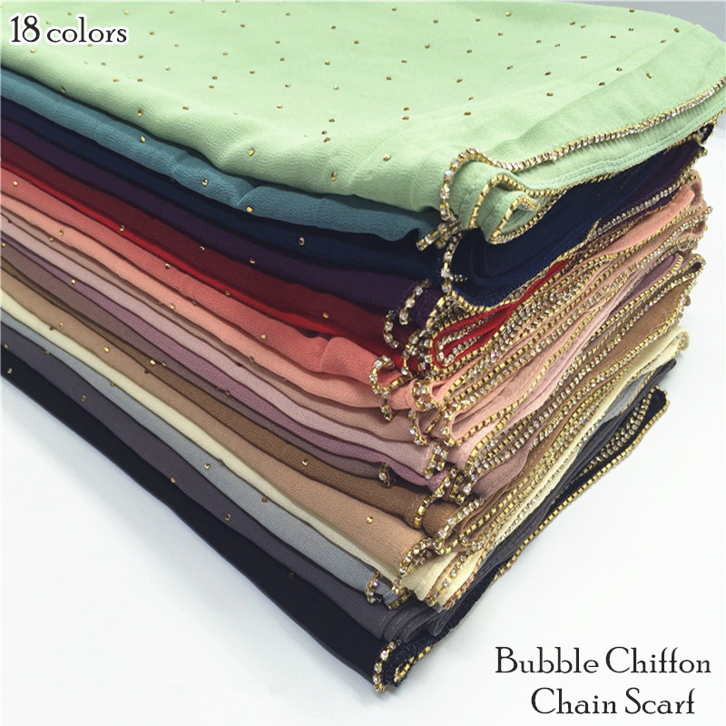 19 Color Women Plain Bubble Chiffon Chain Scarf Rhinestone Scarves And Shawls Shimmer Muslim Hijab Foulard 10pcs/lot