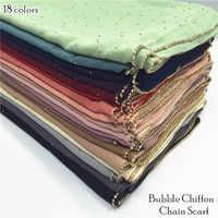 19 color women plain bubble chiffon chain scarf rhinestone scarves and shawls shimmer muslim hijab foulard 10pcs/lot