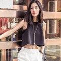 2016 nova moda verão estilo AA de tanque das mulheres marca Top Design Casual sem mangas cortar sem encosto Sexy Top colete camisa solta T preto