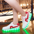 2017 Hot Sell Fashion Basket Led Shoes Men's Wamen's Luminous Light Up Shoes For Adults Glowing Chaussure Led Femme USB Charging