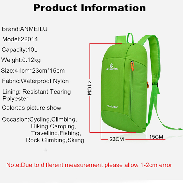 5150711519 ANMEILU 10L Women Men Travel Backpack Climbing Bag Camping Pack