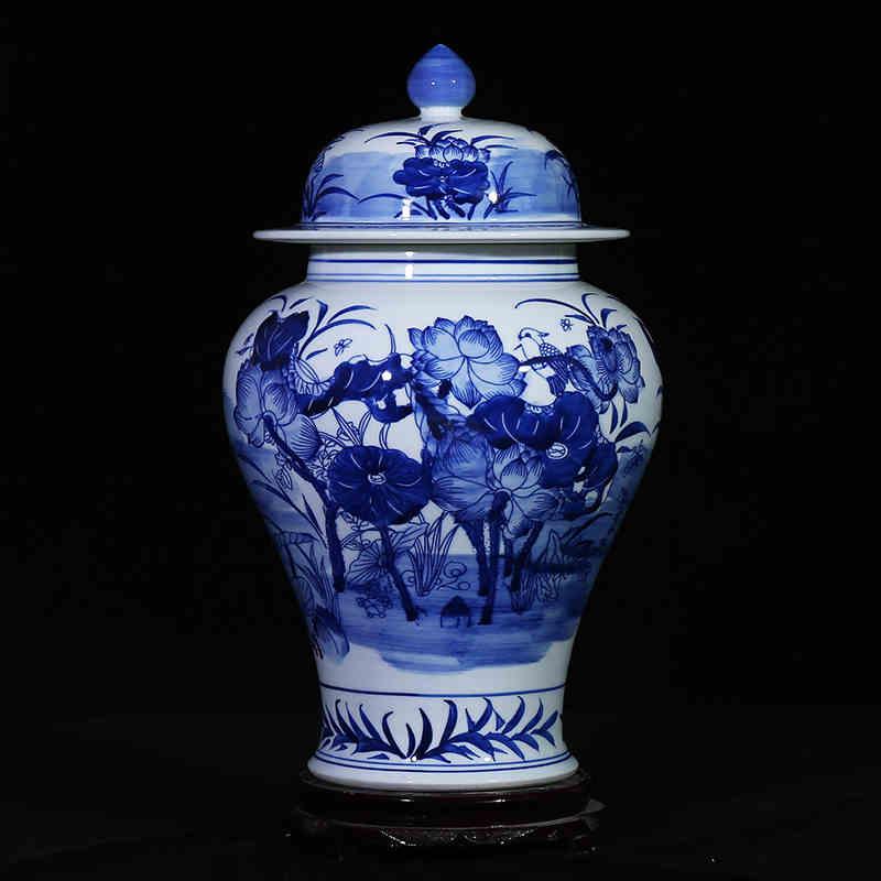 chinese ceramic ginger jar vase antique porcelain temple jars home decoration ceramic jar blue - Ginger Jars