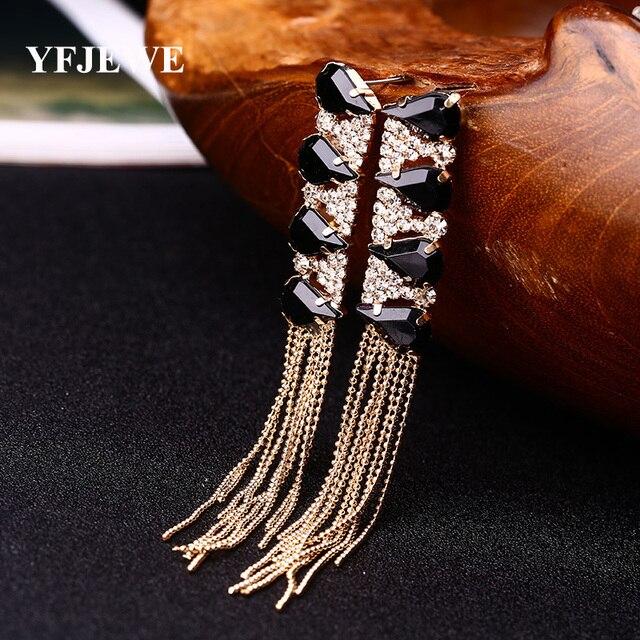 Yfjewe модные сверкающие хрустальные длинные серьги с бахромой серьги для женщин свадебный подарок на день Святого Валентина # E046
