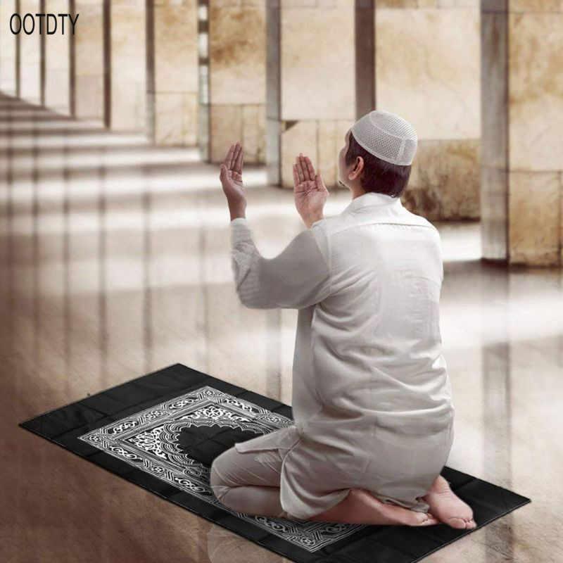 Tragbare Wasserdichte Muslimischen Gebet Matte Teppich Mit Kompass Vintage Muster Islamische Eid Dekoration Geschenk Taschenformat Tasche Zipper Stil