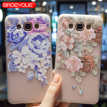 BROEYOUE Case For Samsung Galaxy J3 2016 3D Relief Silicone Flower Ultra Thin Matte Phone Cases Cover